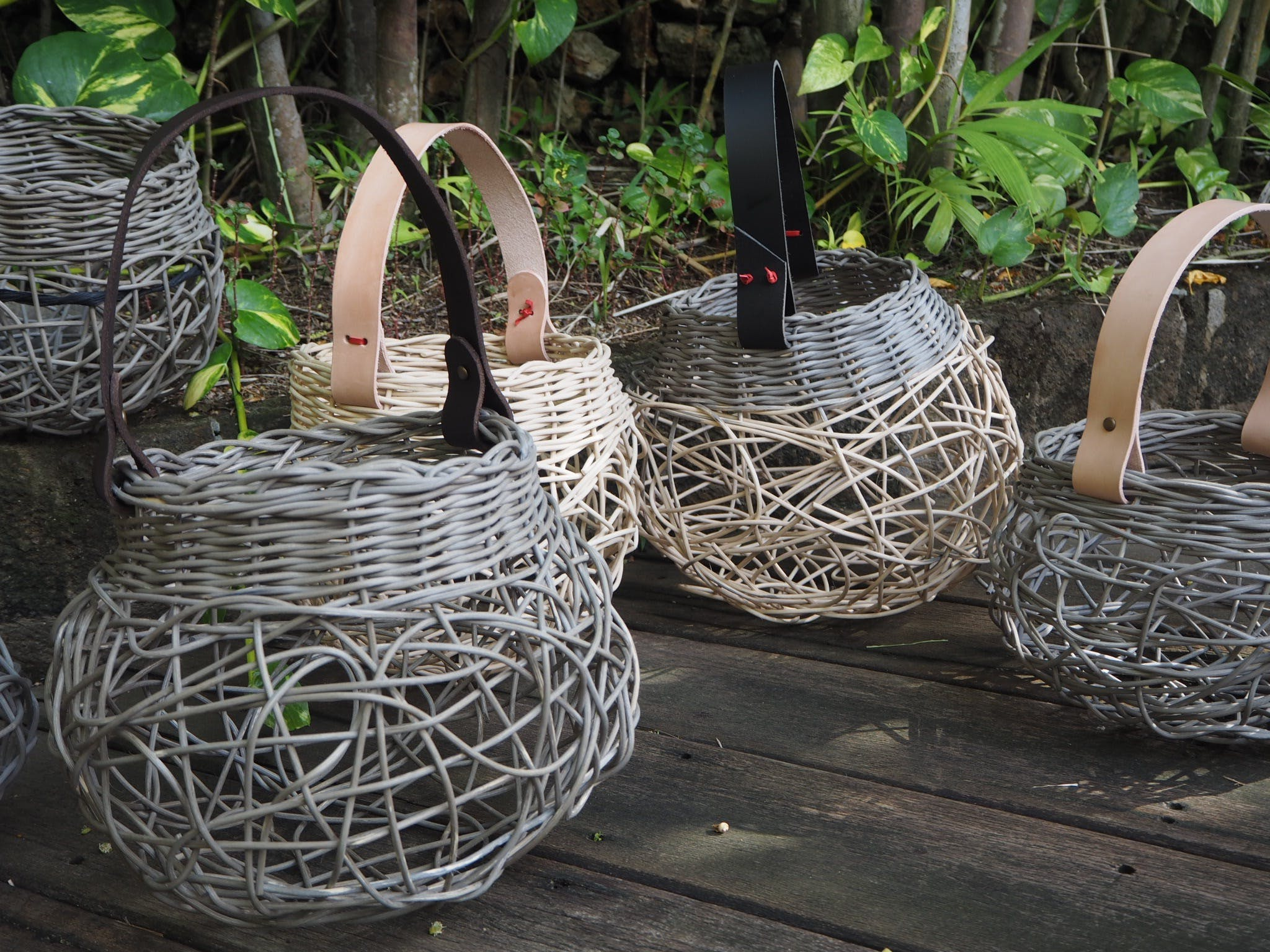 Weaving Woven Basket with Leather Handle - New South Wales Tourism